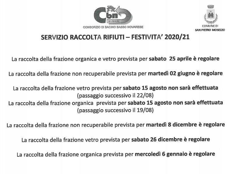 Calendario raccolta rifiuti 2020/2021   Comune di San Pietro Mosezzo